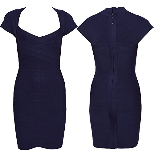HLBandage Cap Sleeve V Neck Women Rayon Bandage Dress Noir