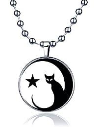 Yumilok Vintage Cute Black 18.5 Rope Chain White Cats Couple Round Pendant Alloy Leather Necklace for Women//Men//Children