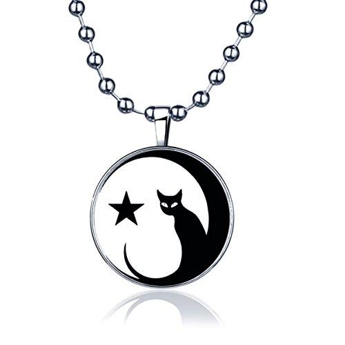 Yumi Lok Estrella gato gatito en la luna la oscuridad, para colgante collar aleación medallón kettenänhanger para mujer hombre, luz azul