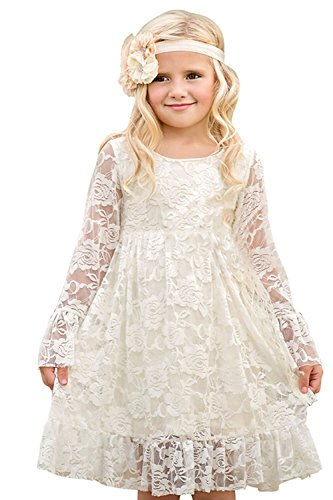 MisShow- Kinder Langarm Spitze Blumenmädchen Kleid Festlich Kleid Knielang Ivory 120