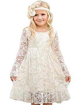 MisShow- Mädchen Prinzessin Spitzenkleid BlumenmädchenKleid Festkleider 90-155