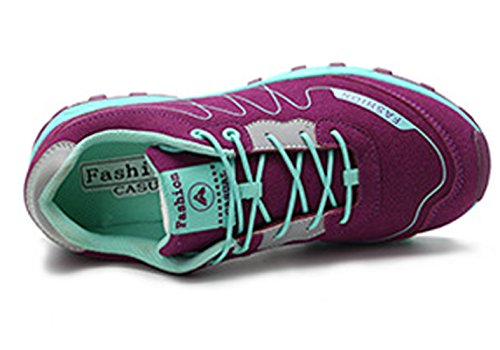 Unisex Erwachsene im Freien Wiese und Berge aufsteigende Anti-Rutsch Schöne Schnürsenkel Sport Turnschuhe Kletternschuhe Wanderstiefeln Violett