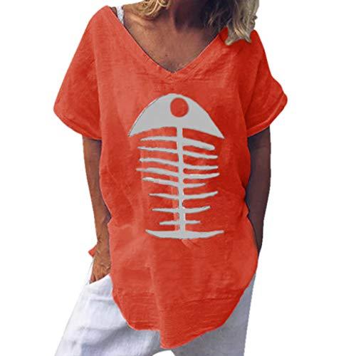 Epig Leinenbluse Fischgrätenmuster Gedrucktes Kurzarmhemd Unregelmäßiger Saum Lose Lustige Oberteile Bluse (Disney Mutterschaft Kostüm)