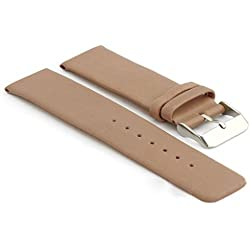 StrapsCo Modern Style Matte Beige Leather Watch Strap size 28mm