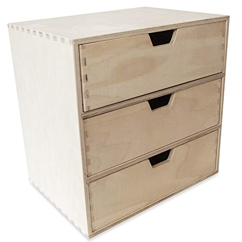 Creative Deco Schubladenbox Ordnungssystem | 3 Schubladen | 28,5 x 20 x 28,5 cm | Kommode Holz Unlackiertes Sperrholz | Perfekt für Lagerung, Decoupage & Dekoration