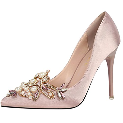 Oasap Women's Pointed Toe Rhinestone Pearls Slip on Stiletto Pumps Pink