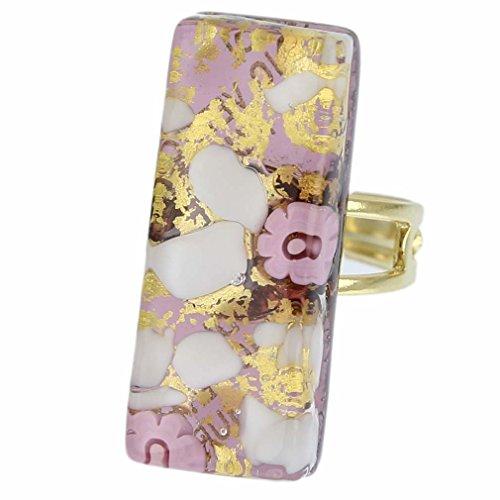 GlassOfVenice Damen-Ring Rechteckiger venezianischen-Violett - 4 Violetten Schimmer