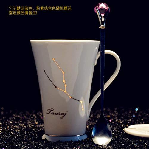 Kaffeetassen Keramiktasse Tasse Kreative 12 Konstellation Kaffeetassen Gilde Keramik Tassen Mit Kristall Löffel Frühstück Milch Tasse Wasserflasche Mädchen Student Geschenk, N, 301-400Ml