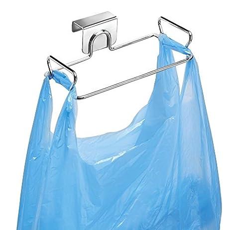 mDesign Over the Cabinet Plastic Bag Holder for Kitchen - Chrome