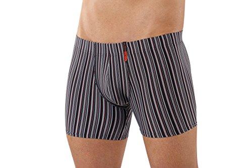 ALBERT KREUZ Eng anliegende Boxershorts Retropants Slipboxer Retroshorts aus Mikrofaser atmungsaktiv gestreift rot-schwarz-grau 5/M (Armani-gestreifte Jeans)