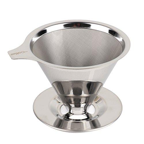 HiCollie Edelstahl Kaffeefilter Wiederverwendbar Kaffee Filter/Teefilter, Geeignet Für 1 bis 4 Tassen Kaffee