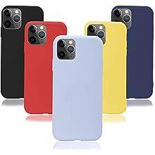 KZIOACSH 5×Cover iPhone 11 PRO Max 6.5'',Morbido Silicone Sottile Morbido TPU Protettivo Custodia iPhone 11 PRO Max 6.5''[Rosso + Giallo + Nero + Viola + Blu Scuro]