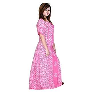 e4114684878a8 preeti textiles Batik Handmade Wooden Block Print Cotton Women Gown Night  Gown Maxie Nightwear Nightdress Sleepwear Free Size (Light Pink)