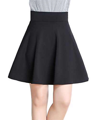 Vintage Svasata Mini Gonna da Pattinatrice Versatile Elastica di Velluto Gonna per Donna Nero