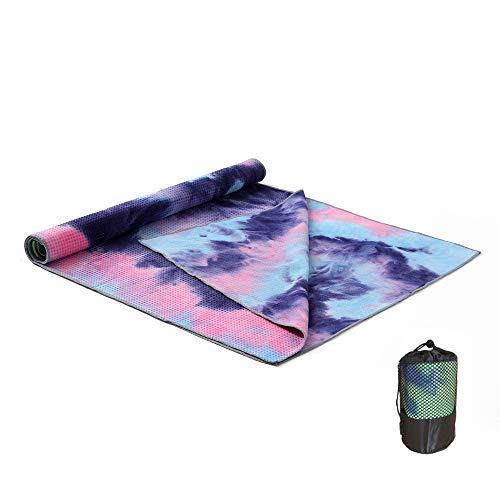 MBEN Yoga-Handtuch, doppelseitige Rutschfeste, superweiche Schweißabsorption Silikonpartikel, geeignet für 183 * 63cm Pad-Licht, geeignet für Yoga Pilates Fitness,Purple