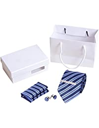 QBSM Corbata de Hombre Hecho a Mano de Poliéster con Gemelos, Pañuelo de bolsillo y Clip de Corbata