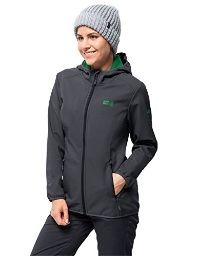 Jack Wolfskin Damen Northern Point Women Atmungsaktiv Wasserabweisend Winddicht Outdoor Funktionsjacke Wanderjacke Softshelljacke, Ebony, XL