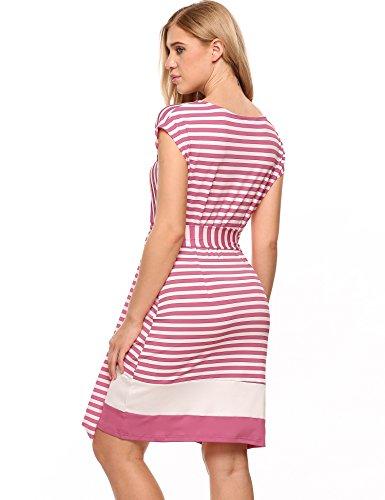 Meaneor Damen Gestreiftes Kleid Sommerkleider Striped Stretch Jersey Kurz Ärmel Etuikleid in Figurbetonter Passform Rosa&Weiß