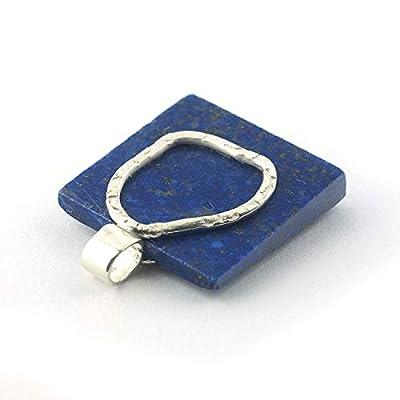 Pendentif de lapis lazuli de couleur cobalt bleu royal forme carré serti d'argent 925, 20x20x4 mm