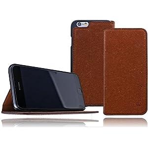 Burkley Premium Magnetic Leder Tasche für das Apple iPhone 6 / 6S in 4.7 Zoll Book Cover Schutzhülle mit Standfunktion und Magnetverschluss in kaffee braun