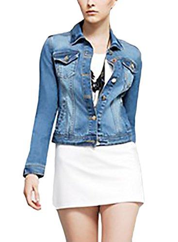 Jeansjacke Damen Vintage Langarm Revers Einreihig Schlank Mit Taschen  Hippie Fashion Casual Herbst. 80957e68ee