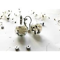 Orecchini pendenti corti con globo in vetro soffiato e semi di Clematide - gioielli naturali -gioielli botanici - orecchini terrario