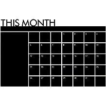 Pegatina de pared - SODIAL(R)Nuevo Mes Plan Calendario Pizarra Memorandum Tablero negro Pegatina de pared de vinilo Moda