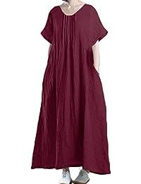 StyleDome Vestido Maxi Elegante Casual Fiesta Mangas 3/4 Algodón Cóctel Oficina Noche para Mujer