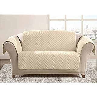 Ashley Mills Quilted Chevron Stripes Sofa Protector Cover Super Soft Touch Anti Mite Snag Resistant Water Repellent Cover (Cream, Three Seater)