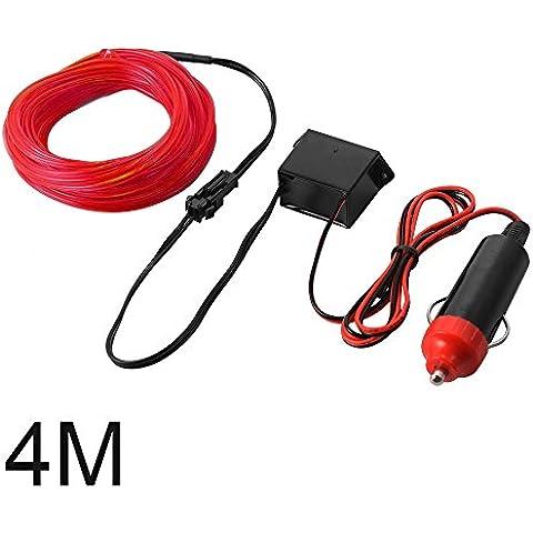 XCSOURCE 4M EL Filo Tubo corda del LED striscia flessibile della luce al neon con Controller per decorazione del partito dell'automobile di nozze (Red) LD820