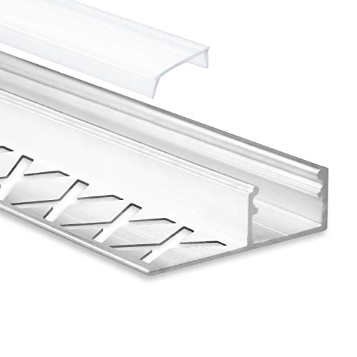 LED Aluminium Fliesenprofil F2 Alya 2 Meter inkl. Abdeckung Opal (milchige Abdeckung) LED Fliesenprofil 2m LED Alu Profil Fliesen