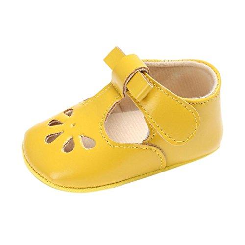 Lederschuhe Babyschuhe Neugeborenen Leder T-Strap Schuhe Kleinkind Prinzessin Party SchuheLauflernschuhe Mädchen Krippeschuhe Krabbelschuhe Wanderschuhe LMMVP (Gelb, 2CM(6~12 Monate))
