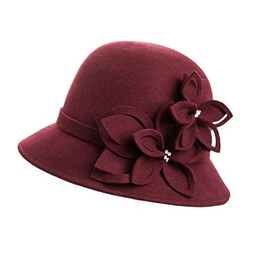 Chapeau petit Britannique/Chapeau d'automne/hiver/Chapeaux de pot de fleur/Chapeaux de mode jazz vintage B