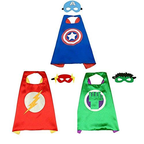 BJ-Shop Superhelden Umhang Maske, Superhelden Kostüm Kinder die Mantel Jungen und Mädchen Superheld Spielwaren für Geburtstag und Kinderkostüm Partei zurechtmachen