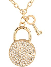 Jazz Trendz Hip Hop Style Lock And Key Yellow Gold Plated Chain White Diamond Stones Pendant Chain For Men And...