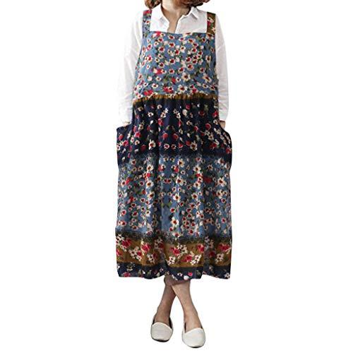 rauen Vintage Floral Bedruckte Pinafore Square Cross Pockets Arbeit Pinafore Kleid, Schürze Kleid Knöchellänge Heißer ()