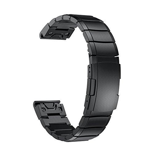 Band für Garmin Fenix 5X GPS Armband, MuSheng Luxus Edelstahl Schnellspanner Uhrenband mit Schmetterlings Schnalle Erstatzband Zubehör (Schwarz) Edelstahl-gps