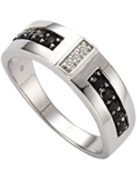 Celesta Damen-Ring 925 Sterling Silber 3x Diamanten 0.01 ct. 10x Saphir schwarz 0.04 ct. 340270016-054
