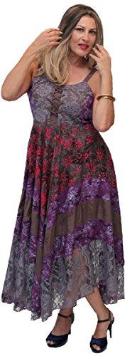 LOTUSTRADERS Damen Boho Batik Kleid Mittleres Grau Pflaume