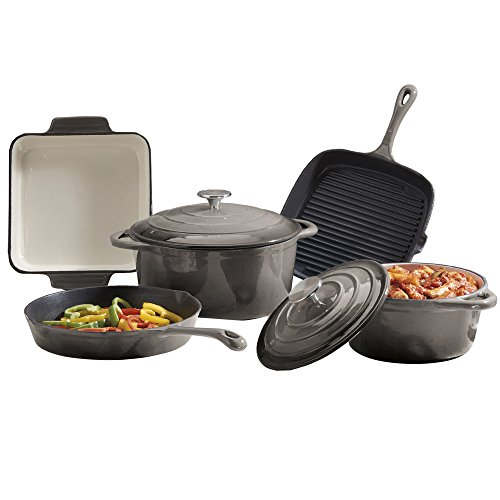 cooks-professional-deluxe-cast-iron-cookware-complete-5-piece-cooking-set-grey