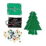 Funnyrunstore DIY 3D Árbol de Navidad LED Kit Rojo Verde Amarillo LED Partes del circuito de flash Electrónico Divertido Suite Presente de año nuevo navideño (verde y amarillo y rojo)