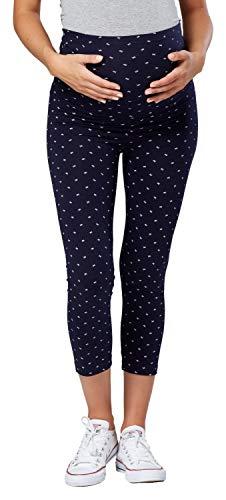 HAPPY MAMA. Mujer Premama Pantalones. Disponible EN 2 Longitudes DE Pierna. 581p (Medio Azul Marino Arco, EU 40, XL)