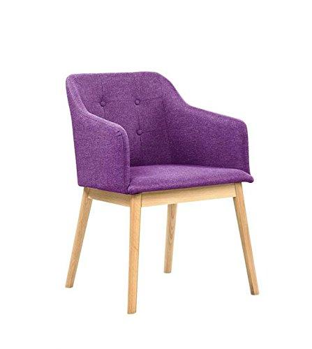 SalesFever® Armlehnstuhl Ando Lila-Violett, Esszimmer-Stuhl mit Stoffbezug modern gepolstert, Massive Holzfüße Eiche, Wohnzimmer-Stuhl Sessel mit Armlehnen