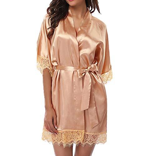 Womens Solid Silk Satin Kimono Robe Hochzeit Brautjungfer Kleid Nachtwäsche Kleid (Champagner) (Champagner Kleider Hochzeit)