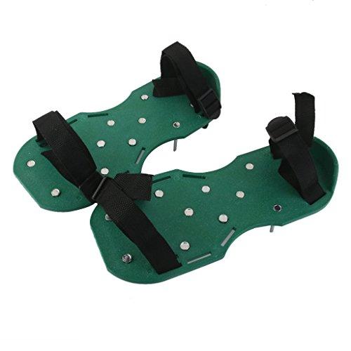 warkhome Rasenbelüfter Schuhe, schwere Pflicht Spikes Luftsprudler Sandalen mit 2Riemen und sicherer Metall Schnallen für Belüften Rasen oder Yard (grün)