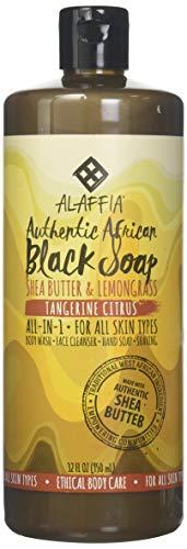 Alaffia - Authentische afrikanische schwarze Seife mit Messe-Handel Schibaum-Buttertangerine-Zitrusfrucht - 32 Unze.
