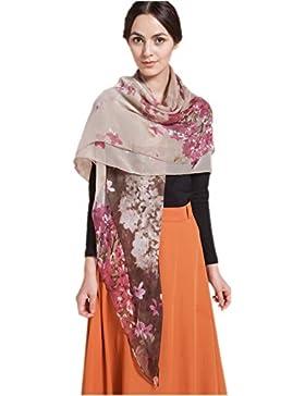 Prettystern - 140 cm XXL mantón 100% seda ligera y transparente con el patrón floral - selección de color