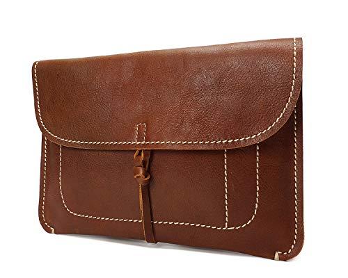 House of Luggage Für Damen Leder Unterarmtasche Klein A5 Größe Portfolio Organisator Case HLG050 Bräune - Braune A5 Organizer