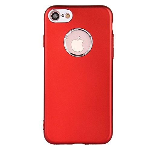 Wkae Reiner Farben-Öl-Auslauf-weicher TPU-Metallknopf-schützender Fall-rückseitige Abdeckung für iPhone 7 ( Color : Blue ) Red
