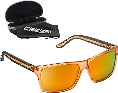 Cressi Rio Sunglasses Gafas de Sol Deportivo Polarizados, Unisex Adultos, Crystal Lentes Espejadas Naranja, Talla única